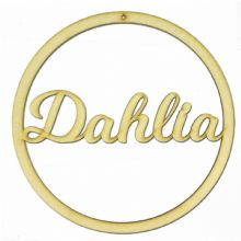 Personalised LV Name Hoop With Hole 3mm MDF Wood Circle Home Nursery Wall Sign